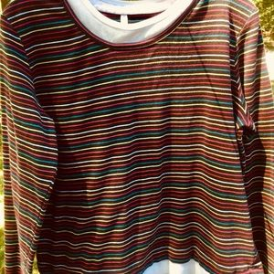 White Stag Long Sleeve Striped rainbow Top